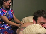 Clad in a kimono, this asian masseuse interviews for a job
