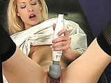 Using a clear, gelatin-like, toy she penetrates her wet pussy slowly