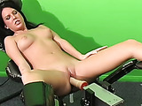 Overwhelmed with sensation, she leans back and gets drilled by a machine