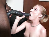 Naughty blonde babe sucks a massive dick and gets fucked by a black guy