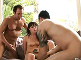 Naughty coed with dark hair is screaming like crazy while having mmf threesome