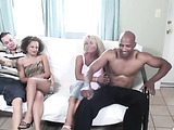 Silver haired tanned hottie and other ebony whore enjoy the wife switch game