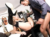 hot blonde fox in black lingerie fucked good at the office