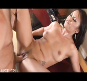 slutty mature asian babe gets drilled on a red couch