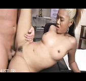 bushy small tits asian chick spreads her legs for a cock