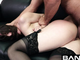 Beautiful faced asian whore with perfect skin and amazing perky tits takes off her dark pink lingerie leaving he rlong black necklace and sucks hairy guy