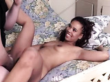 Black babe with nice hair and belly ring lays in bed and gets her delicious body played with by white old man