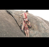 Rock climbing in the nude, these lesbians pose for this kinky photoshoot