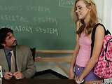 Flexible blonde with glasses wearing pink haltered top and backpack with sneakers talks to her anatomy teacher and has sex in class