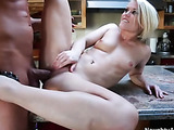 Hot blonde bitch gets her tight pussy fucked hard by a horny fucker