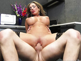 Brown eyed mature busty blonde has creative nail art, she seduces her boss in the office