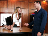 Office receptionist with a pierced pussy is cleaned up by the horny janitor