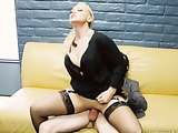 Stylish blonde with tattoos on her arm catches her colleague masturbating in the washroom