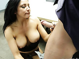 Gorgeous raven with huge round boobs has a mole on her left breast