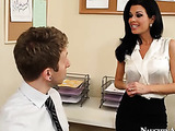 Innocent dude with spiked hair is persuaded by the office slut with huge tits