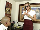 Blue eyed blonde whore wears glasses at work, she has a trimmed bush