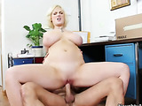 Short golden haired blonde with glasses and pan cake boobs fucks her colleague