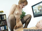 Blonde with short hair and big ear rings has small boobs and a pierced navel