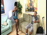 Big tits ebony in blue peignoir and fishnet hose pulls aside black panty and rubbing her cunt on the couch near the black dude