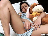 Small tits brunette in blue outfit pulls aside her sexy shorts and rubbing her itchy coochie on the bed