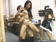 long haired asian maid