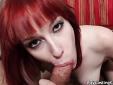 Big tits redhead in white socks took off yellow shorts and showing her pink pussy before giving a head on the bed