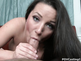 Green eyed brunette with pierced nose and huge tits sucking and stroking shaved dick on the bed