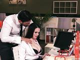 Big-tit secretary slut rides a boss boner