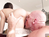 Bald man with big cock fucked a young schoolgirl
