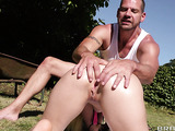 Muscled gardener anally fucked a small-tit blonde