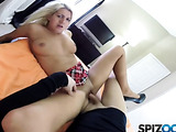 Big tits blonde in black heels and red miniskirt spreading on the orange blanket and being twat pounded