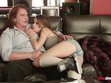horny dad fucks his beautiful step-daughter on the couch and cums hard