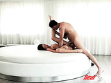 horny couple cums together while enjoying a passionate fuck on bed