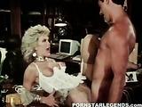 dazzling blonde slut in white lingerie sucks and fucks in the office