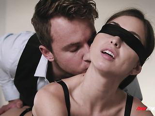 blindfolded girl black stockings