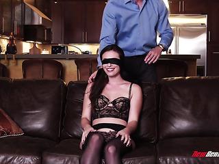 brunette wife gets blindfold