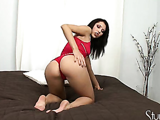 naughty chick strips off