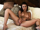 Perfectly hot chick masturbates and gets her fuckhole wet while playing solo.