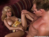 Busty blonde in dress gives a blowjob and gets fucked hard.