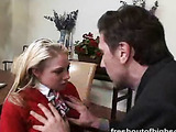 Blonde in red uniform sucks and gets fucked while she studies.