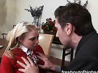 blonde red uniform sucks