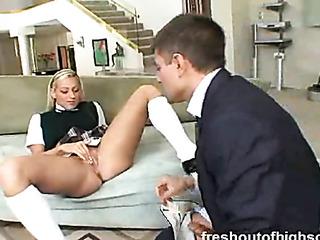 skinny blonde student rubs