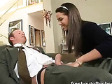 Horny brunette fucks her stepdad after class and rides him.