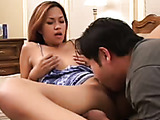 Babe in blue gets her pussy licked and fucked in the bedroom.