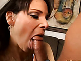 alluring brunette mature sucks and fucks after playing with herself