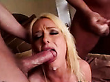 naughty blonde slut in black fishnets drilled by two hard cocks to orgasm