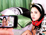 POV sex scene with a headphones-wearing brunette teen