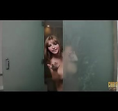 Brunette with bangs gets all wet and soapy in the shower