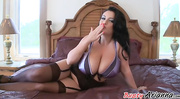 stockings-clad brunette purple bra
