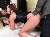 Collared brunette in high heels gets double penetrated on a couch